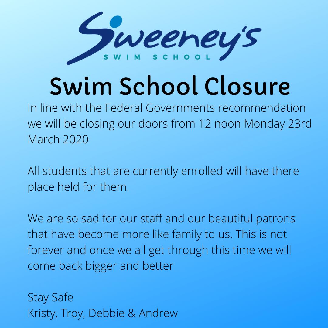 Swim School Closure